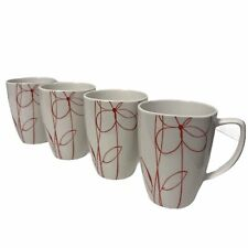 """4 Corelle Coordinates White Coffee Cup Red Floral Embossed  Mug Porcelain 4 1/5"""""""