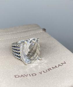 David Yurman Sterling Silver 925 Wheaton 20x16mm White Topaz Diamond Ring Size 7