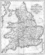 ENGLAND WALES. Roads, rail, canals, rivers. Lewis c1840 old antique map chart