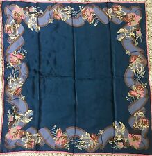 "Lanvin Paris 100% Silk Scarf Dark Blue Pink 31"" x30"""