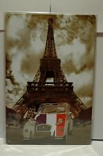 PLAQUE VINTAGE EN TOLE PARIS TOUR EIFFEL CITROEN 2 CV EIFFEL TOWER 20 X 30 CM
