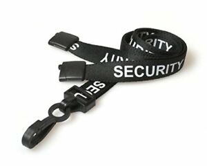 SECURITY Neck Strap PRE-PRINTED White on Black LANYARD For ID Badge Holders
