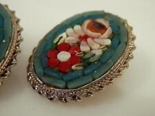 Vintage 1950s Beautiful Micro Mosaic Earrings Signed Italy 1065N