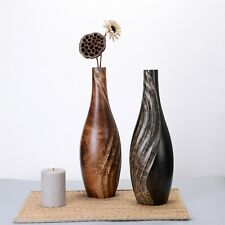 Villacera Handmade 15 In Tear Drop Wooden Mango Vase Swirl Planter Decorative