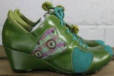 Morenatom Womens 8.5 B Green Lace Up Leather Plaid Accent Oxford Wedge Shoes