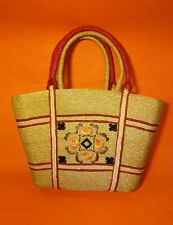 FLORAL Embroidered Straw Woven Tropical Handbag Purse Beach Vintage PINK Natural