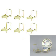 Tea Cup and Saucer Display Stand Holder Rack Easels Brass Gold Etched Base 6pcs