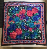 "30"" Square 100% Polyester Made In Italy Floral Scarf - Blue Pink Green"