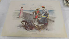 """1898 COLOR Print/HUMAN NATURE AT THE SEA WALL/about 14x20"""" by Charles Johnson"""