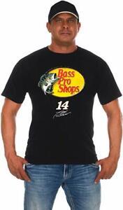 Men's Nascar Shirt Tony Stewart Bass Pro Shops Logo T-shirt Black Cotton