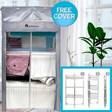 Electric Clothes Airer Dryer Heated Indoor Horse Foldable Rack 3 Tier Free Cover