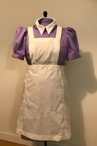 1950s Nurse uniform lilac dress short puffy sleeve, white apron, new, size 4-30