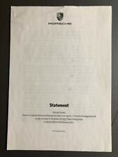 2001 Porsche 911 GT2 ORIGINAL Factory Press Statement English RARE! Awesome L@@K