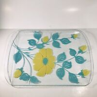 "Vintage Turquoise Yellow Floral Glass Tray MCM 1960's 1970's 18"" x 12.25"" Large"
