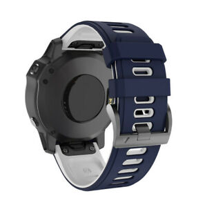 For Garmin Fenix 6X/6X Pro/5X/5X Plus/3 HR Quick Fit Silicone Watch Band Strap