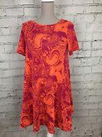 ASOS Women's Dress Patterned Pink Orange Bright Short Sleeve Summer Size UK 12