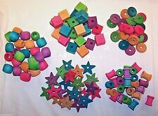125 Bird Toy Parts Variety Assortment Small to Med Parrots Wood Blocks Beads