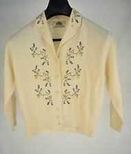 Luisa Spagnoli Sweater Button Cardigan Lambs Wool Angora Floral Embroidery Italy