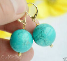 Natural 8mm Blue Turquoise Round Bead 14K Gold Plated hook Dangle Earrings