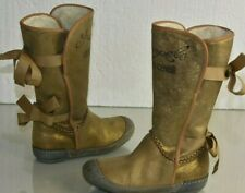 NEW Roberto Cavalli ANGELS Girls Boots Suede Gold Shimmer Bow Fur Shoes 30