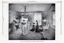 SALON PARISIEN DE VENTE DE LA MAISON RONDEAU TEMPLIER IMAGE 1908 OLD PRINT