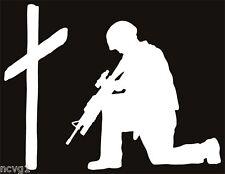 SOLDIER KNEELING AT CROSS Sticker military praying #8