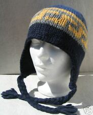 NAVY/BLUE/YELLOW PERUVIAN SKI SNOWBOARD EAR FLAP HAT