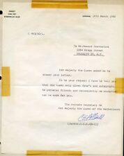 REJECTION 1960 LETTER FOR QUEEN JULIANA'S AUTOGRAPH  LETTER ACCOMPANIED BY COVER