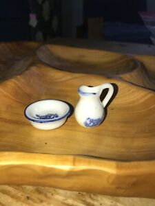 "Vintage Miniature Dollhouse ""Home Sweet Home"" Blue Wash Basin Bowl & Pitcher"