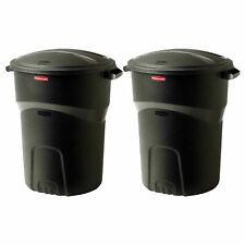 2-Pack Rubbermaid 32 Gal Round Trash Can w Snap-fit Lid Black Garbage Bin Bucket