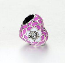 DEEP PINK ENAMEL PUFFY HEART w Crystal .925 Sterling Silver European Charm Bead