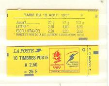 CARNET TYPE BRIAT 2,50 FRANC ROUGE N°2215C2 NEUF** CONFECTIONNEUESE 9