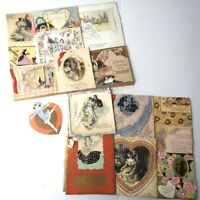 Antique Valentines Day Cards Vintage Lot Collection