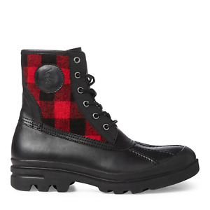 Polo Ralph Lauren Leather Black Red Udel Buffalo Check Leather Duck Boot Boots