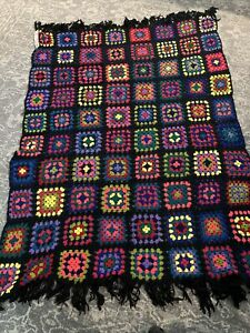 VTG Granny Square Multicolor Afghan Crochet Throw 62 X 84 Handmade Roseanne
