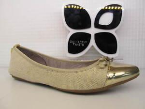 Butterfly Twists Twist Holly Gold Linen Beige Bow Flat Fold Up Ballerina Shoe