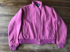 Vintage Woolrich Pink Wool Coat Jacket Women's Medium Made In USA Plaid Lining