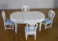 Casa De Muñecas Muebles de 1:12 Mesa y 4 Sillas Blanco