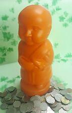 Piggy Bank Money Pot Plastic Coin Box Note Collectible Little Buddha Monk Orange