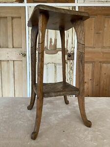 Liberty & Co Of London Antique Carved Arts and Crafts Japanese Table Side Table
