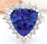 6.57 Carat Natural Tanzanite 14K Solid White Gold Diamond Ring