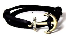 Leather Nautical Anchor Bracelet  Vintage Adjustable Men Women Hand Made USA