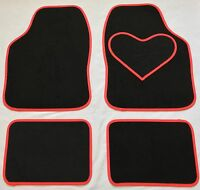 BLACK CAR MATS RED HEART HEEL PAD FOR TOYOTA AURIS AVENSIS AYGO COROLLA