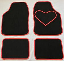 BLACK CAR MATS RED HEART HEEL PAD FOR FORD FOCUS ST B MAX C-MAX FUSION