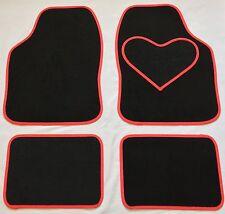 BLACK CAR MATS RED HEART HEEL PAD FOR TOYOTA IQ PRIUS RAV 4 YARIS