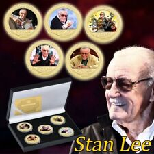WR 5PC Stan Lee Gold  Commemorative Coin for Collection with Gift Box Case