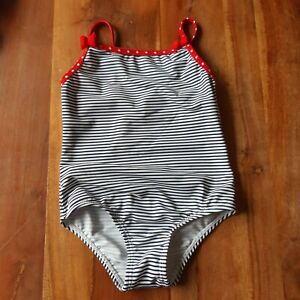 Primark 24-36 Months 2-3 Years Blue White Red Bow Striped Swimsuit