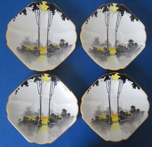 Shelley Queen Anne Sunrise & Tall Trees Saucers x 3 (+ 1 a/f)