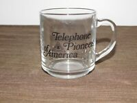 "VINTAGE 3 1/2"" HIGH TELEPHONE PIONEERS OF AMERICA GLASS MUG"