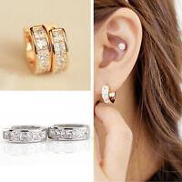 2Pcs Unisex Stainless Steel Rhinestone Crystal Huggie Hoop Studs Earrings